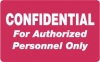 HIPAA Labels, Confidential Authorized Personnel Only - Red, 4&#34 X 2.5&#34 (Roll of 100)
