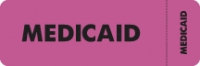 Insurance Labels, MEDICAID - Fl Pink (Wrap-around), 3&#34 X 1&#34 (Roll of 250)