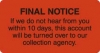 Billing Collection Labels, Fl Red - FINAL NOTICE, 3-1/4&#34 X 1-3/4&#34 (Roll of 250)