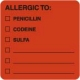 Allergy Warning Labels, ALLERGIC TO: - Fl Red 2&#34 X 2&#34 (Roll of 250)