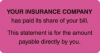 "Patient Responsibility Labels, YOUR INSURANCE COMPANY... - Fl Pink, 3-1/4"" X 1-3/4"" (Roll of 250)"
