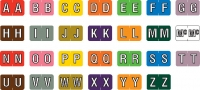 Barkley ABKM Compatible Alpha Labels, Laminated Stock, 1&#34 X 1-1/2&#34 Individual Letters - Roll of 500